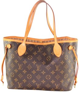 Louis Vuitton Neverfull Classic Leather Monogram Tote in Brown 6293