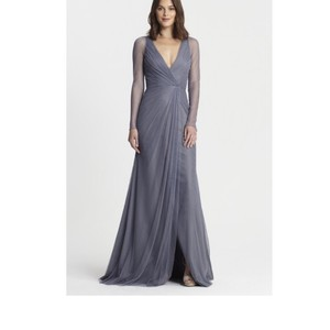 Monique Lhuillier Steel Blue Grey Tulle 450382 Feminine Bridesmaid Mob Dress Size