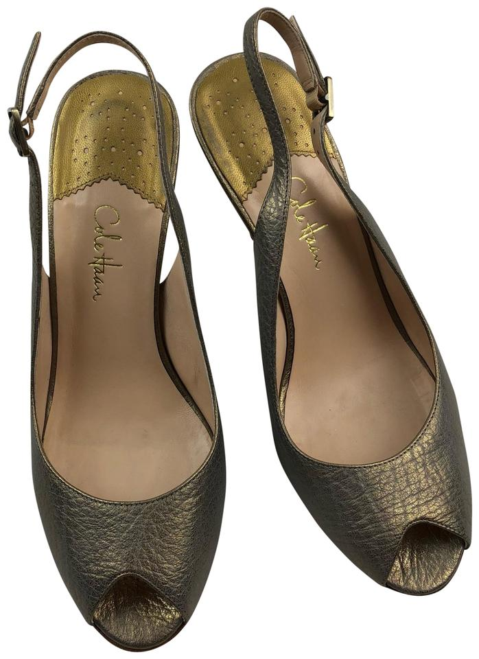 606597cfd852 Cole Haan Gold Nike Air Karma Sling Back Iridescent Leather Sandals ...