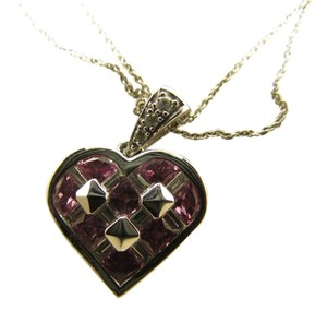 TYCOON TYCOON JEWELRY 18K WHITE GOLD HEART PENDANT NECKLACE SET WITH DIAMONDS & PINK SAPPHIRE