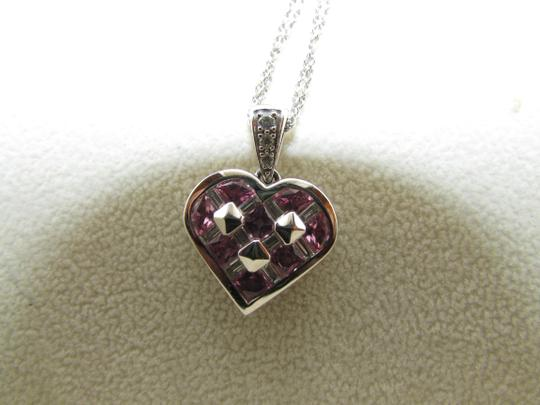 TYCOON TYCOON JEWELRY 18K GOLD PENDANT NECKLACE WITH DIAMONDS & PINK SAPPHIRE Image 1