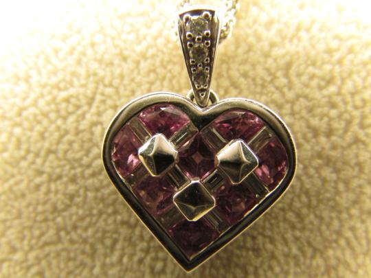 TYCOON TYCOON JEWELRY 18K GOLD PENDANT NECKLACE WITH DIAMONDS & PINK SAPPHIRE Image 11