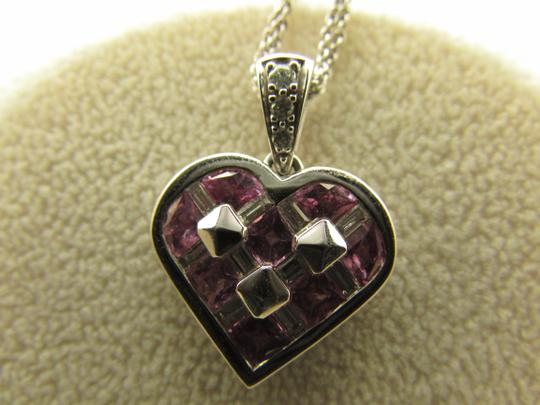 TYCOON TYCOON JEWELRY 18K GOLD PENDANT NECKLACE WITH DIAMONDS & PINK SAPPHIRE Image 2