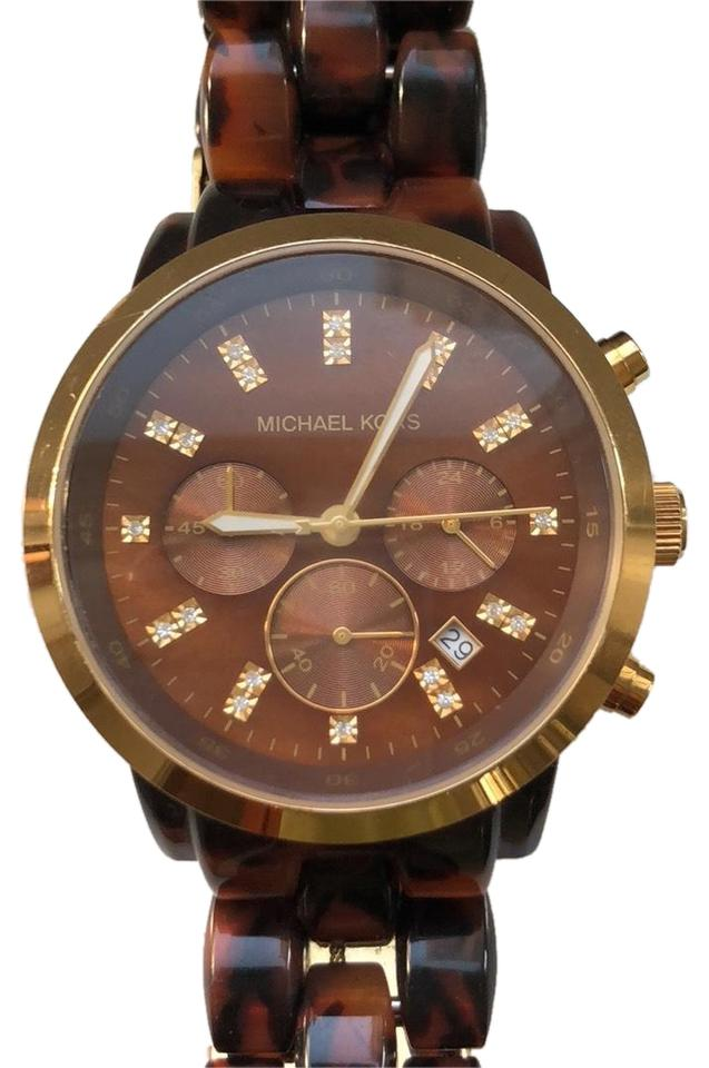 79e7076d7571 Michael Kors Tortoise Shell Band with Lg Gold Face and Crystal Detail Image  0 ...