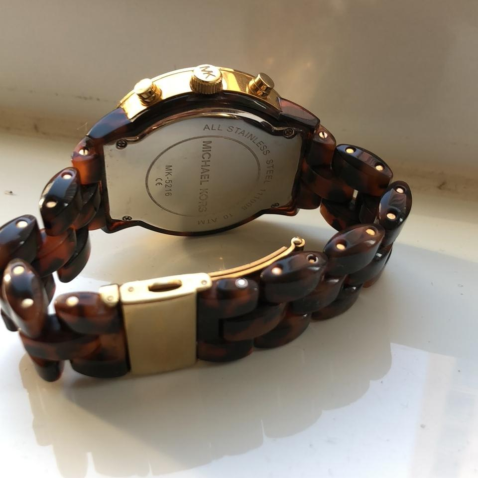 f3c799dd1dac Michael Kors Tortoise Shell Band with Lg Gold Face and Crystal Detail Image  3. 1234