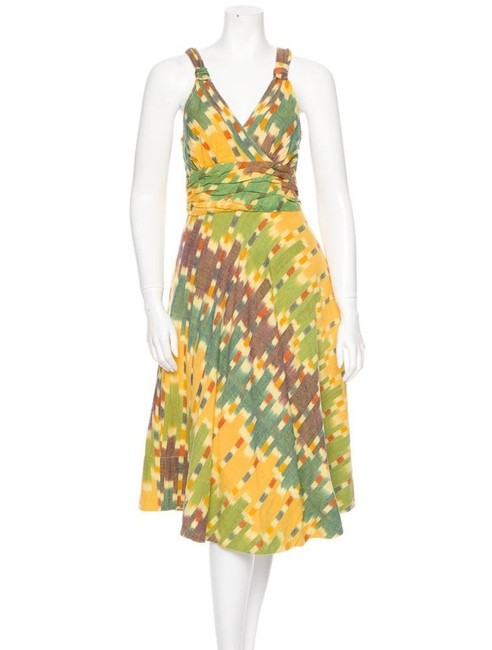 Item - Multi-color Yellow and Green Ikat Sundress Mid-length Short Casual Dress Size 6 (S)
