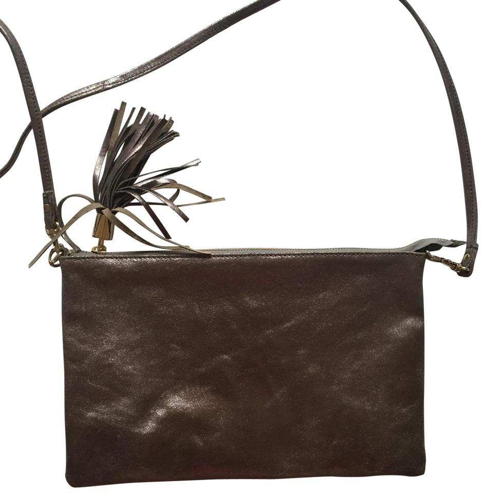 e8c91fac6a Topshop Pewter Cowhide Leather Cross Body Bag - Tradesy