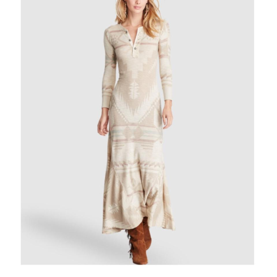 a75be7715a2 Polo Ralph Lauren Beige Fair Isle Henley Long Casual Maxi Dress Size ...