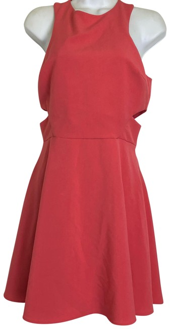 Item - Orange Womens Coral Cutout Skater Fit & Flare Pink Short Casual Dress Size 8 (M)