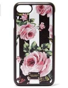 Dolce&Gabbana Floral iPhone 7 Leather Case Black Cover