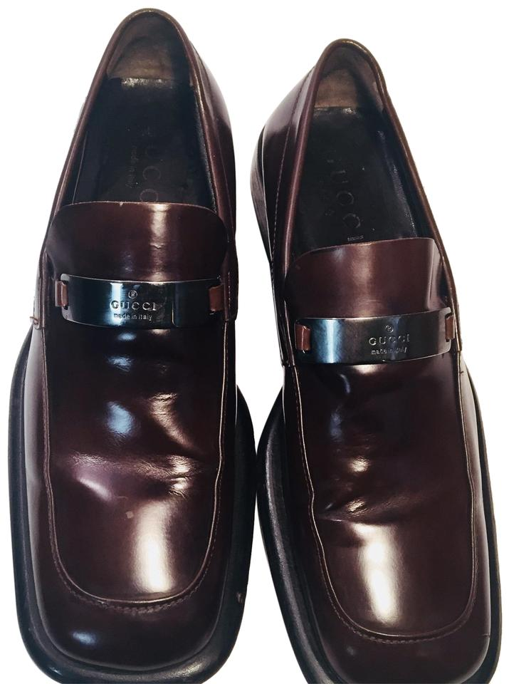 b8ebd645826 Gucci Brown Vintage Men s Metal Plaque Classic Loafers Leather Flats. Size   US ...