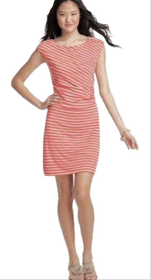 233764e302 Ann Taylor LOFT Pink and White Striped Ruched Mid-length Work/Office ...