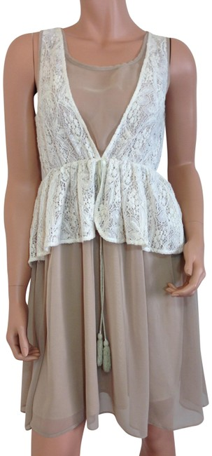 Preload https://img-static.tradesy.com/item/23667639/beige-with-ivory-lace-short-casual-dress-size-4-s-0-2-650-650.jpg