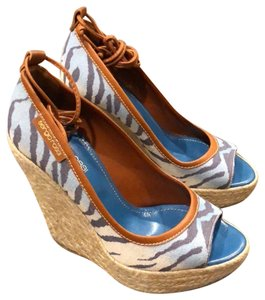 Sergio Rossi Blue and Ivory Wedges