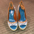 Sergio Rossi Blue and Ivory Wedges Image 1