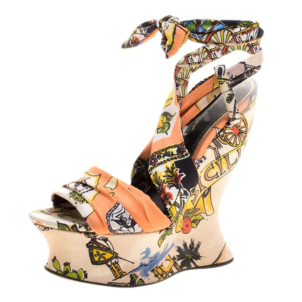 Dolce&Gabbana Multicolor Printed Fabric Ankle Sandals Wrap Wedge Sandals Ankle 9969c0