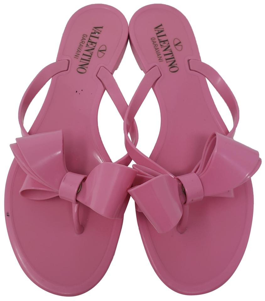 6bb04c508 Valentino Jelly Bow Embellished Rubber Rockstud Pink Sandals Image 0 ...