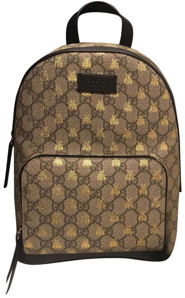 f60ddf585c6 Gucci Beige Ebony Gg Supreme Canvas with Gold Bees Print A Material with  Low Environmental Impact Backpack