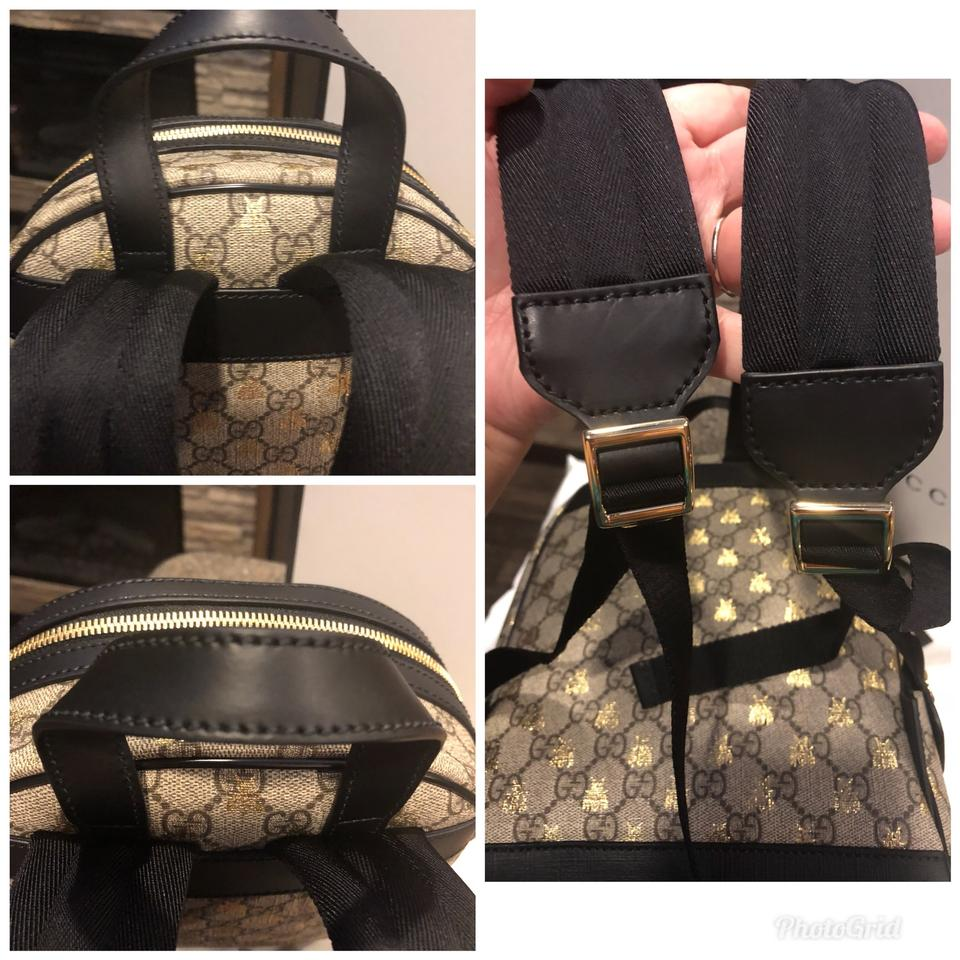 7a038c6b908f Gucci Beige Ebony Gg Supreme Canvas with Gold Bees Print A Material with  Low Environmental Impact Backpack - Tradesy