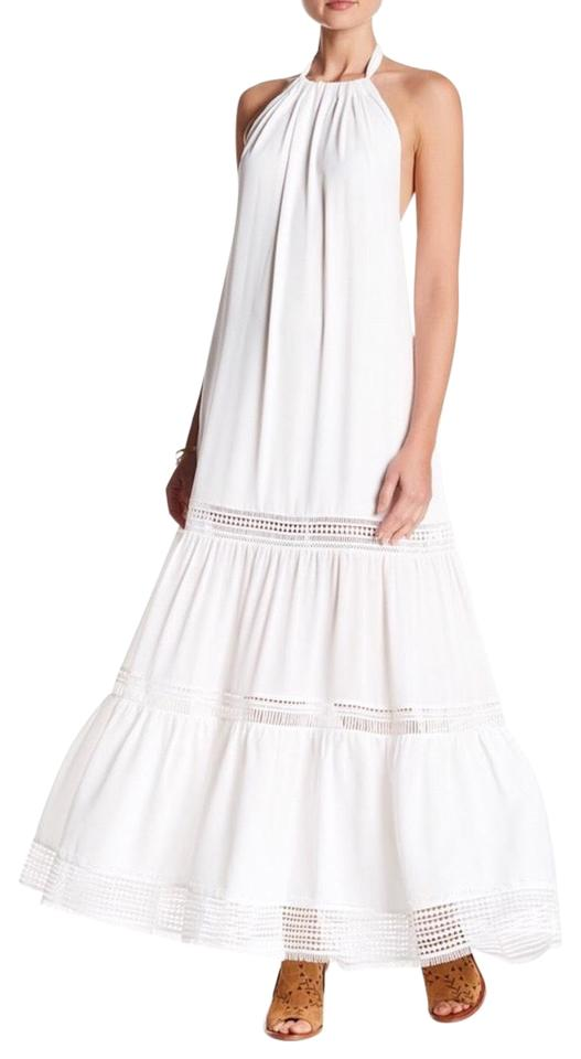 bddbec52b05 Nicole Miller White Halter Cut Out Long Casual Maxi Dress Size 8 (M ...