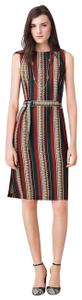 Tory Burch Silk Belted Print Sleeveless Bold Stripe Dress