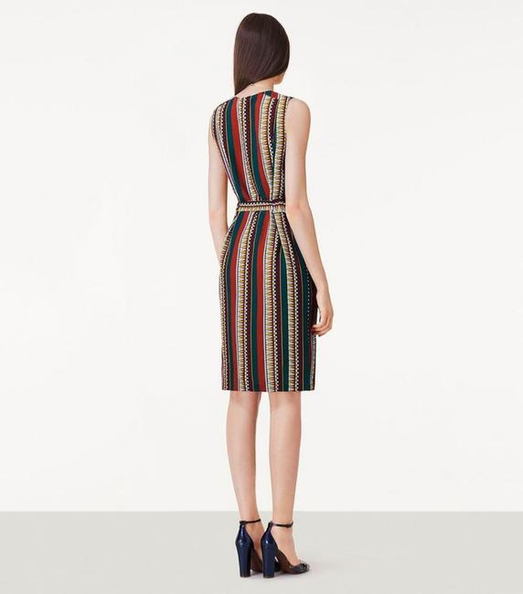 Tory Burch Silk Belted Print Sleeveless Bold Stripe Dress Image 1