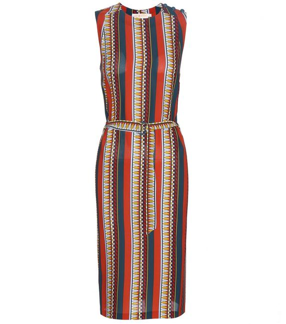 Tory Burch Silk Belted Print Sleeveless Bold Stripe Dress Image 4