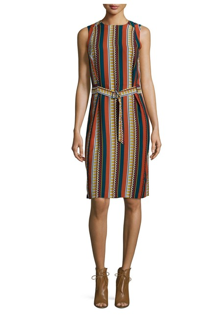 Tory Burch Silk Belted Print Sleeveless Bold Stripe Dress Image 6