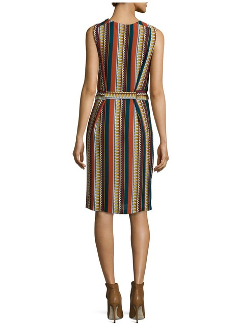 Tory Burch Silk Belted Print Sleeveless Bold Stripe Dress Image 7