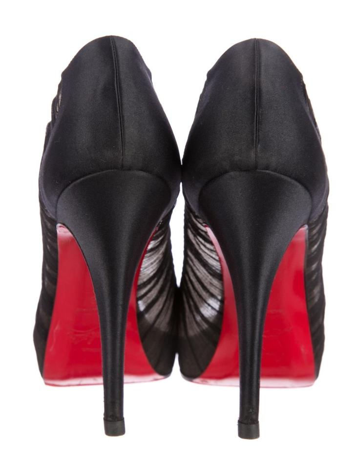 0e52da28da Christian Louboutin Black Satin Chiffon Pleated Peep Toe Platform Pumps