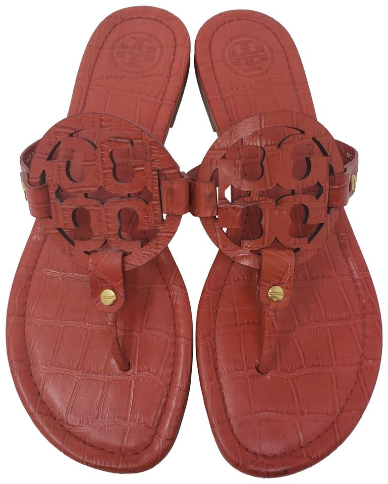 4ebcdb835eb6 Tory Burch Orange Gold Embossed Leather Miller Sandals Size US 9 ...
