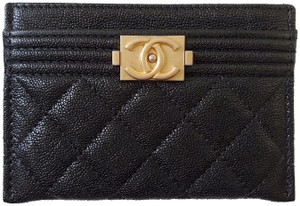 acaa1de5fc17 Chanel NEW Chanel boy Caviar quilted leather Card Case holder Gold CC wallet