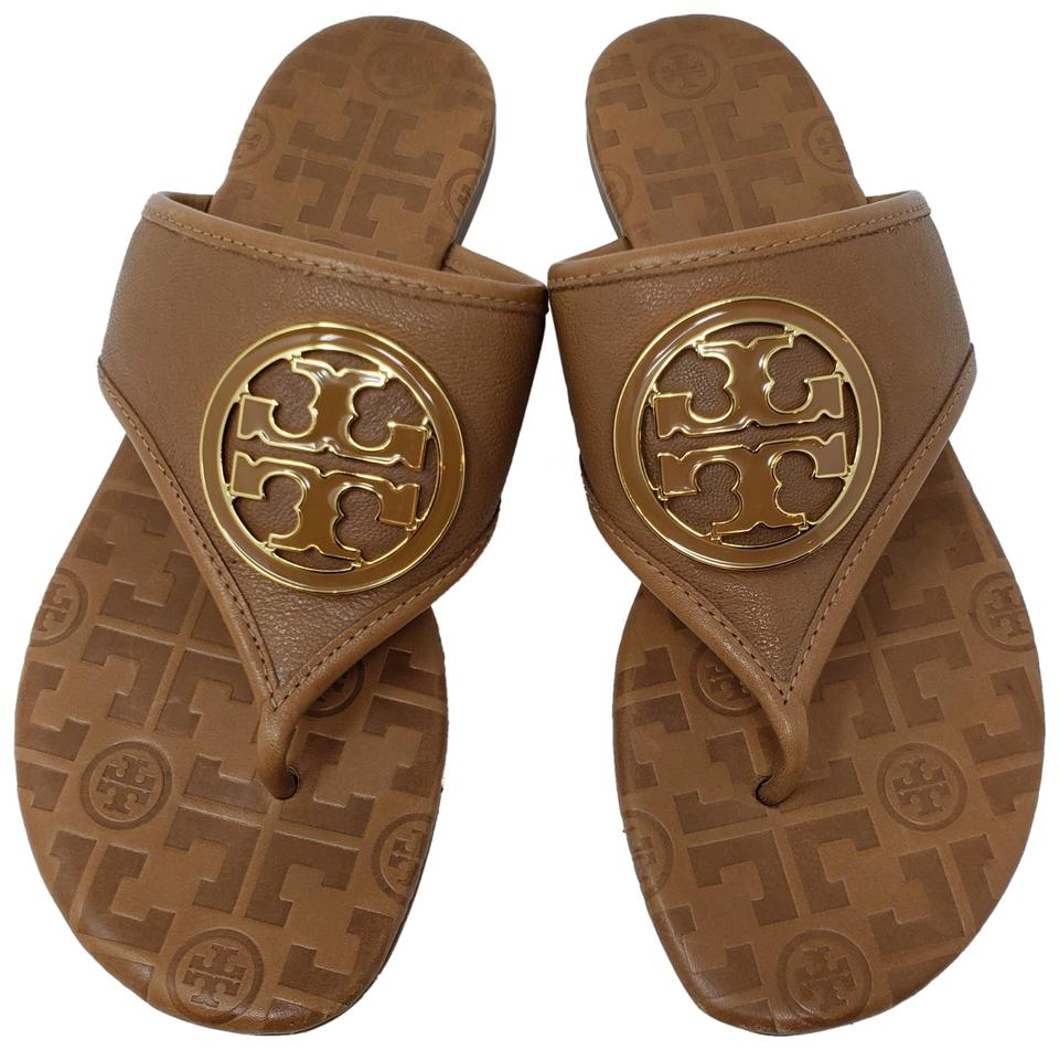 89c0dacfd Tory Burch Brown Gold Leather Gold-tone Logo Sandals Size US 7 ...