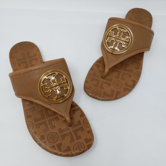 92745a55ac88 Tory Burch Brown Gold Leather Gold-tone Logo Sandals Size US 7 ...