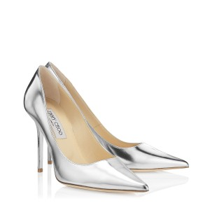 Jimmy Choo Pointed Toe Crystal Abel Anouk Metallic Silver Pumps