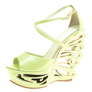 Le Silla Leather Wedge Green Sandals