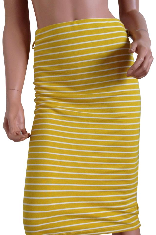 452b9b75b5 Yellow And White Stripe Pencil Bodycon Skirt Size 2 (XS, 26) - Tradesy