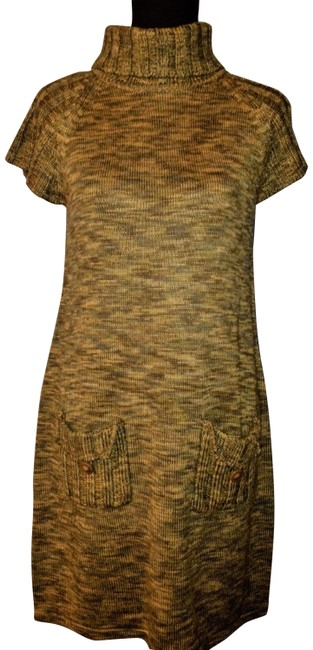 Item - Green Knitted Rayon Turtleneck Sweater Short Casual Dress Size 6 (S)