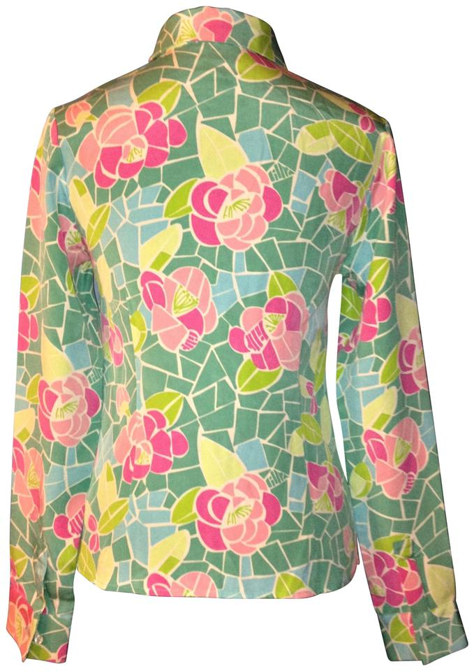 921cc0dd71d3b5 Lilly Pulitzer Silk Blouse Long Sleeves Button Down Shirt Pastel Floral  Image 5. 123456