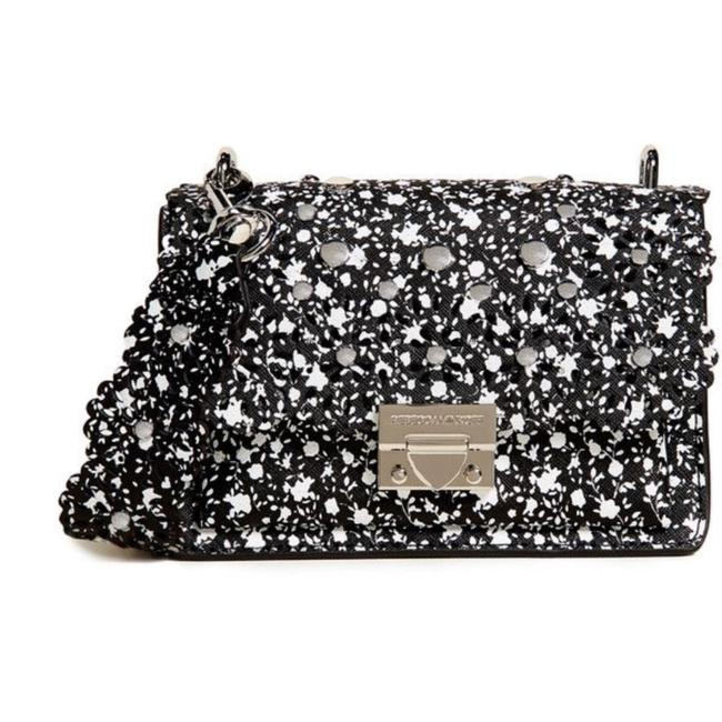 Item - Christy Small Cutout Black and White Leather Shoulder Bag