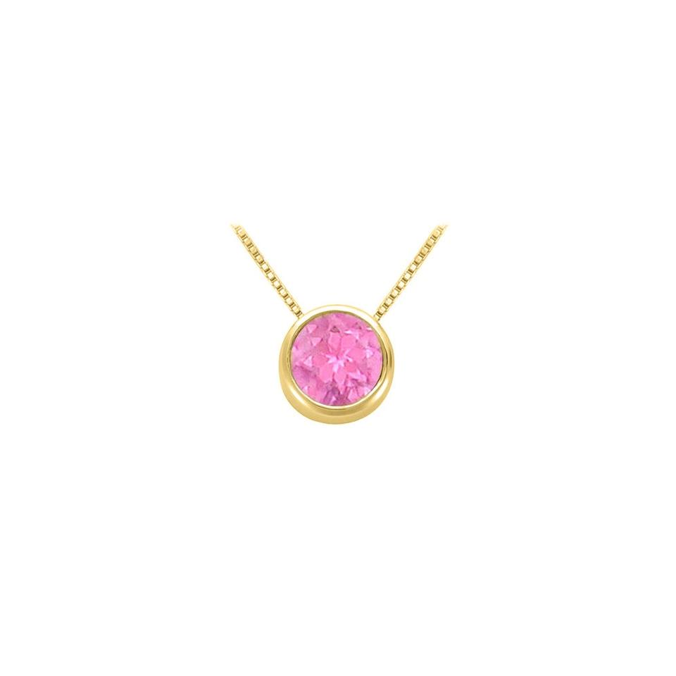 Pink september birthstone created sapphire pendant in 18k yellow designerbyveronica september birthstone created pink sapphire pendant in 18k yellow gold aloadofball Image collections