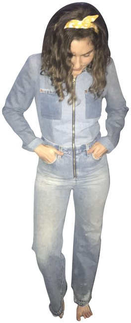 Item - Blue Distressed Flared Denim Jumpsuit Boot Cut Jeans Size 27 (4, S)