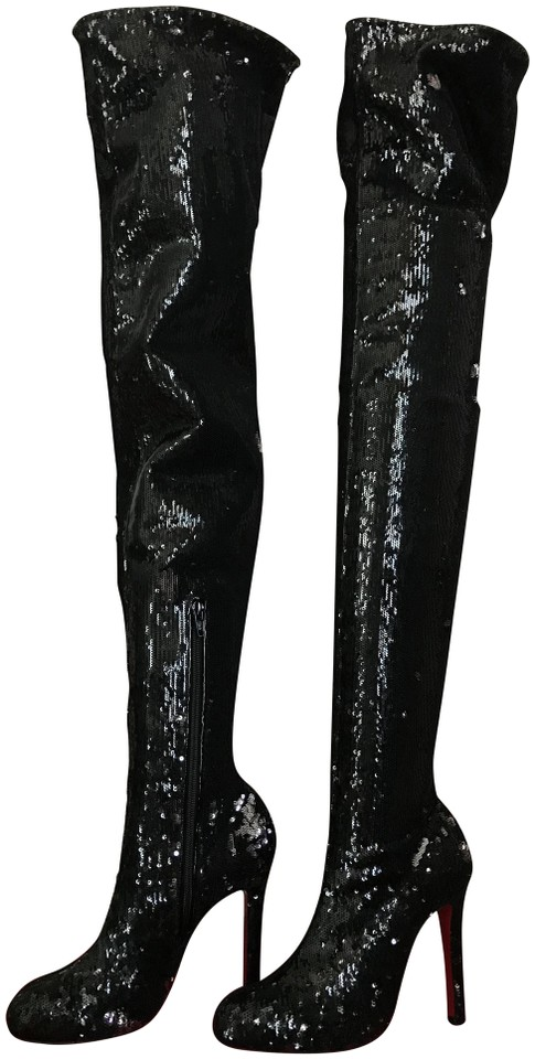 new style 42d00 53b68 Christian Louboutin Black Louise X 100 Sequin Over The Knee Boots/Booties  Size EU 37 (Approx. US 7) Regular (M, B)