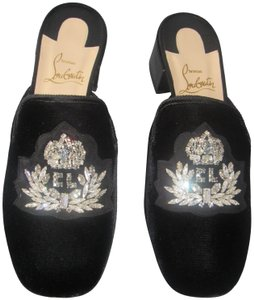 Christian Louboutin Red Sole With Box Slippers Crest Strass Black Mules