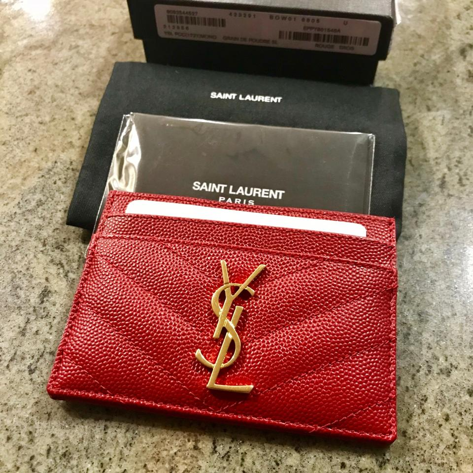check out 64ede 18f31 Saint Laurent Red Ysl Monogram Leather Card Case Wallet