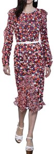 Michael Kors Collection Crystals Hand-crafted Knee-length Floral Dress