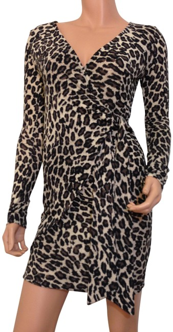 Item - Brown Leopard Animal Print Wrap Sweater Short Casual Dress Size 4 (S)