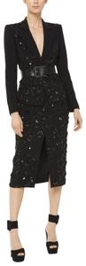 Michael Kors Collection Michael Kors Women's Black Floral-embroidered Stretch Pebble-crepe Din