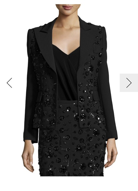Michael Kors Collection Michael Kors Women's Black Floral-embroidered Stretch Pebble-crepe Din Image 1