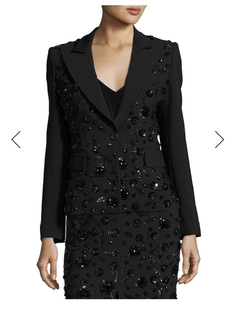 Michael Kors Collection Michael Kors Women's Black Floral-embroidered Stretch Pebble-crepe Din Image 2